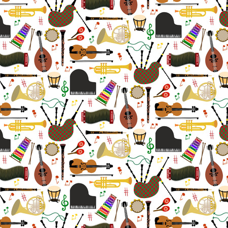 concertina: Musical instruments background pattern with colored icons in square format