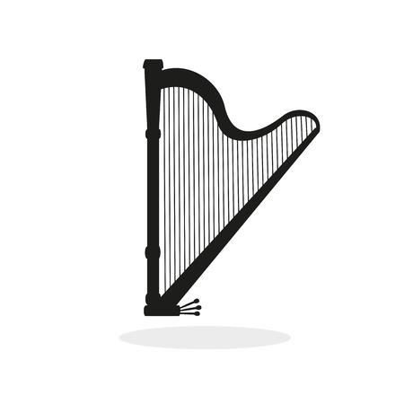 Harp black icon on the white background. Çizim