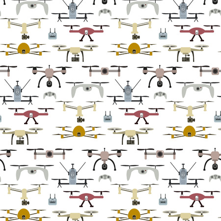 Drone icon seamless pattern, quadrocopters on a white background.