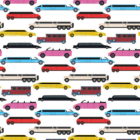 Colorful seamless pattern with limousines.