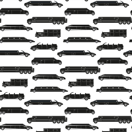 Seamless pattern with  black limousines.