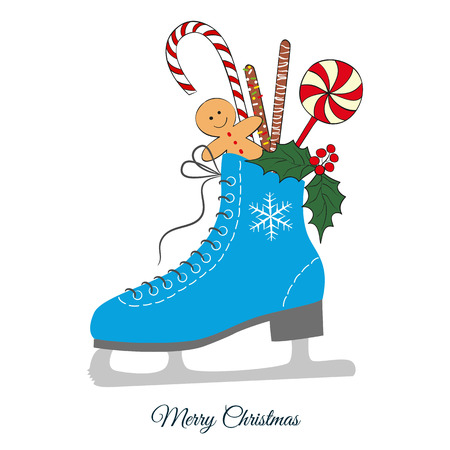 Christmas colorful skate with candy. illustration for Merry Christmas and Happy New Year print design. Illustration