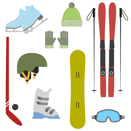 Winter colorful sports icons on white background. Set of winter sports equipment.