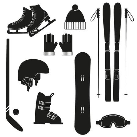 겨울 검은 스포츠 아이콘 흰색 배경에. 겨울 스포츠 장비의 집합입니다. 일러스트