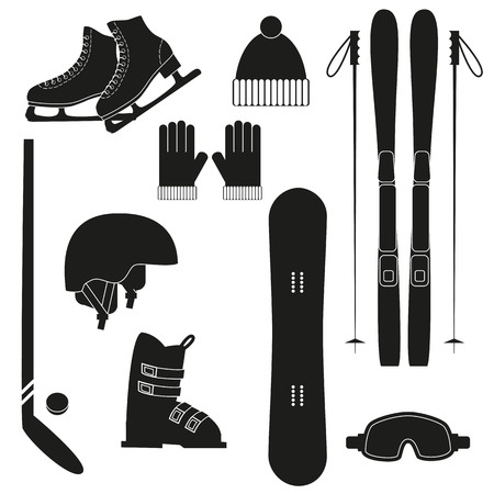 Winter black sports icons on white background. Set of winter sports equipment.
