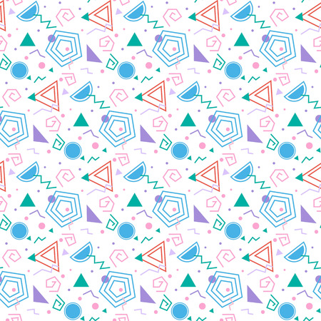 the nineties: Colorful background with geometric figures, seamless pattern, abstract modern style.
