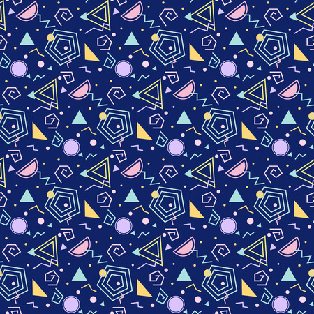 nineties: Colorful background with geometric figures, seamless pattern, abstract modern style.
