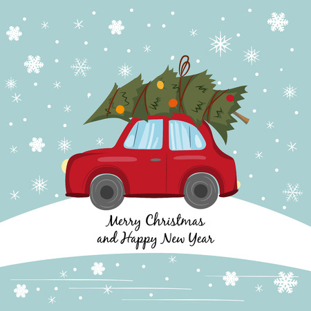 Red car with Christmas tree on the winter background. Stock Illustratie