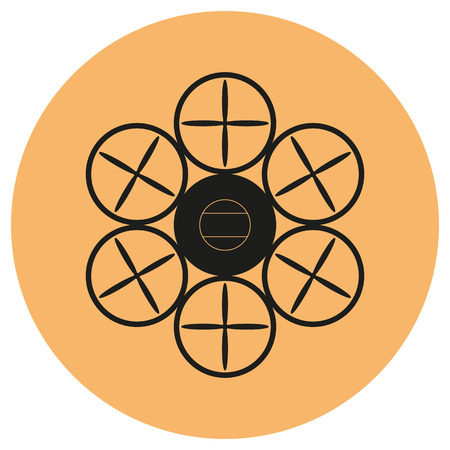 Drone black icon on isolated background. Quadrocopter. Flat design.