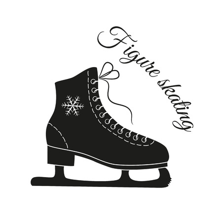 The skates icon with text Figure skating. Figure skates symbol. Flat illustration. Illustration