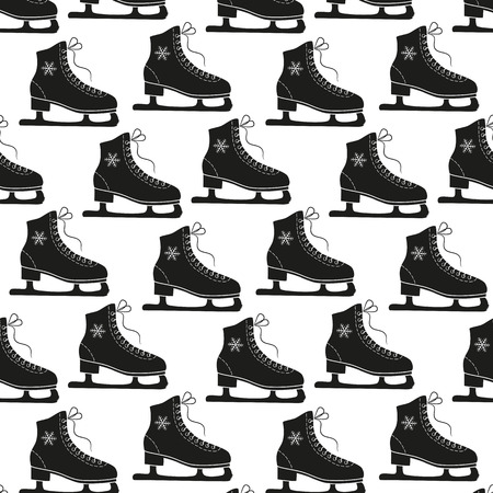 Figure skates and snowflakes on a white background. Seamless pattern.