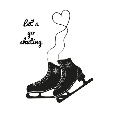 The skates icon with text Lets go skating. Figure skates symbol. Flat illustration. Illustration