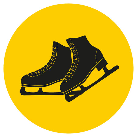 The skates icon on the yellow background. Figure skates symbol. Flat illustration.