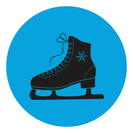 The skates icon on the blue background. Figure skates symbol. Flat illustration.