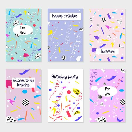 Set of party cards and invitations. Design for poster, card, invitation, placard, brochure. Birthday backgrounds with confetti, abstract modern style.
