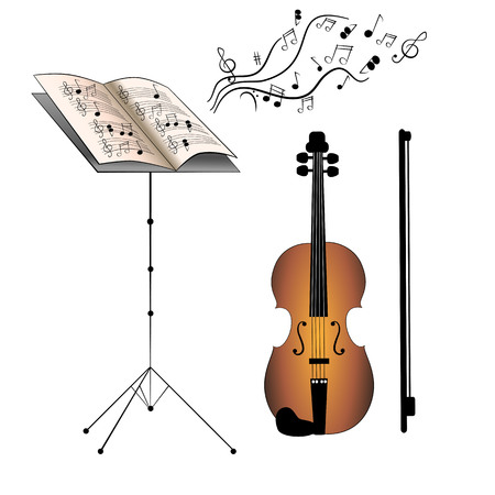 Set of violin, bow, music book and music stand.