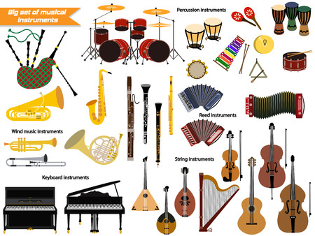 Set of music instruments. Çizim