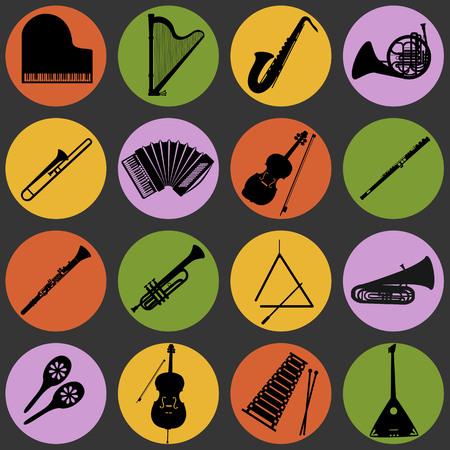 楽器円形ベクトル アイコンのコレクション。フラットなデザインのサークルで 16 楽器アイコンのセットです。  イラスト・ベクター素材