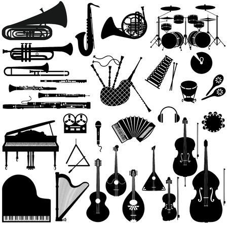楽器の黒と白のアイコンのセットです。