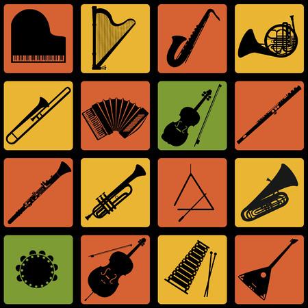 楽器のアイコンのセットです。フラットなデザインの楽器。  イラスト・ベクター素材