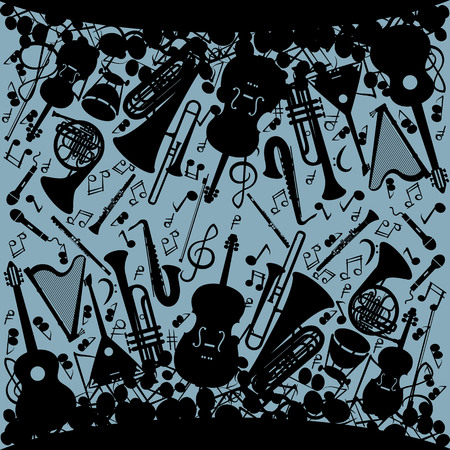 Music background with musical instruments