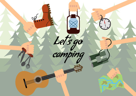 Things for camping in the hands of the forest background.