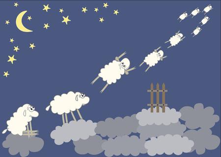 salto de valla: ovejas saltando divertido sobre una valla en el fondo del cielo. Ilustración del vector. Vectores