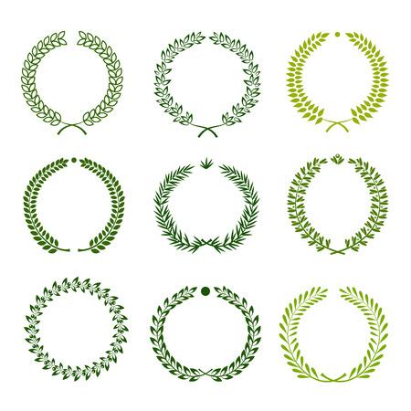 Set of nine green silhouette circular laurel wreath Illustration