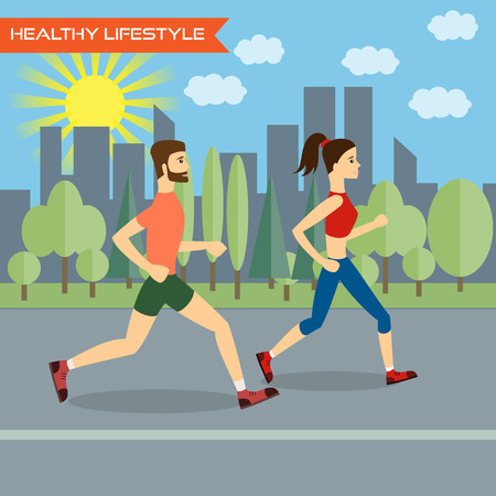 run way: Young man and young woman fitness runners on city background. Healthy way of life,  exercise and run. Vector illustration. Illustration