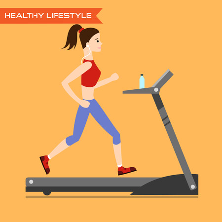 run way: Young woman running on treadmill. Healthy way of life, exercise and run. Vector flat illustration. Illustration