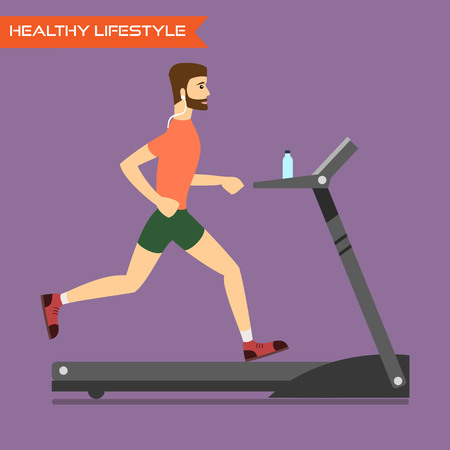 Young man running on treadmill. Healthy way of life, exercise and run. Vector flat illustration.