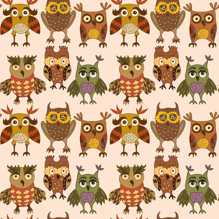 coloful: Vector seamless pattern with cartoon coloful owls.