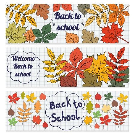 Set of three horizontal banners with school supplies. Doodle back to school background. Ilustração