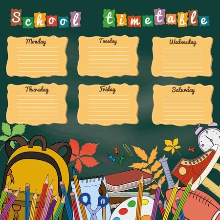 school: School timetable with school supplies. Vector illustration.