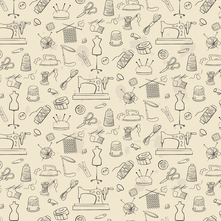 Pattern of knitting, sewing and needlework icons on the light background.