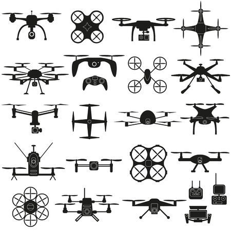 Drone icon vector set, quadrocopters on a white background.