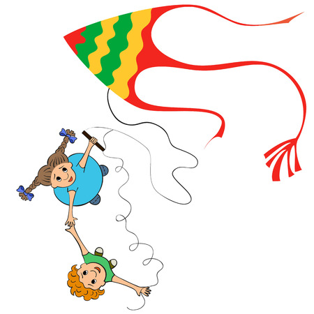 flying kite: Kids playing kites. Vector illustration of children flying kite on the white background.