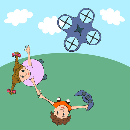Kids playing drone. Vector illustration. Children controling quadrocopter. Drone hovering in the sky.