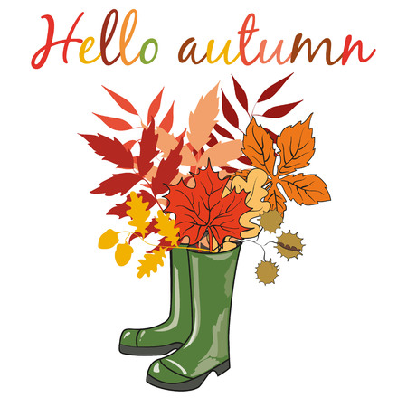 Rubber boots with bouquet of autumn leaves. Postcard Hello Autumn. Vector illustration.