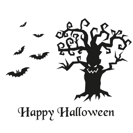 gnarled: Spooky silhouette of Halloween tree and bats. Vector illustration.