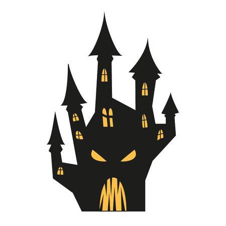 Spooky silhouette of Halloween castle and  for halloween invitation card or halloween party poster. Vector illustration.