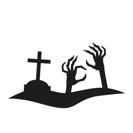 Spooky silhouette icon of hand reaching from the grave  for halloween invitation card or halloween party poster. Vector illustration.