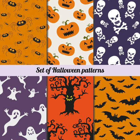 Set of halloween vector patterns. Endless texture can be used for wallpaper, pattern fills, web page,background, surface.