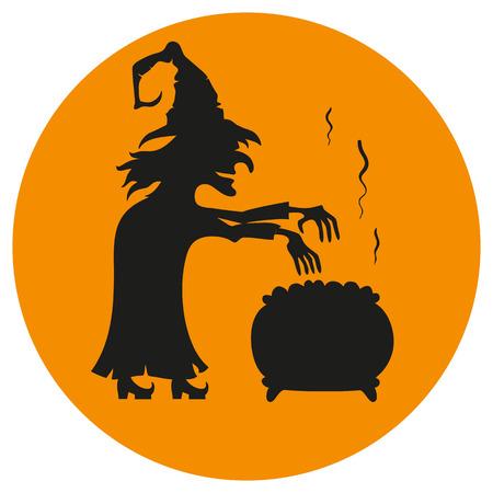 pocima: bruja de la historieta elabora una poción en el fondo naranja. Icono del vector.