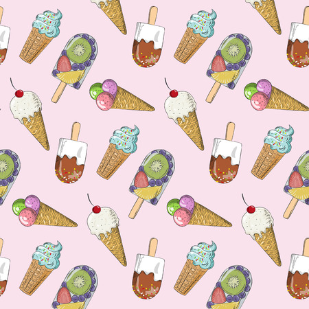 frozen fruit: Colorful seamless pattern with ice cream. Doodle texture with sweet desserts. Perfect background for cafe or restaurant menu.