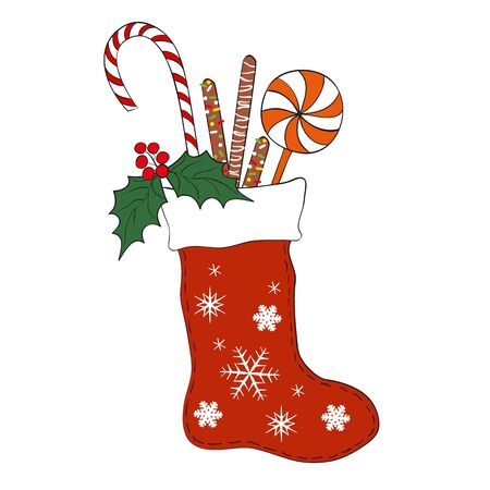 Christmas colorful sock with candy. Vector illustration for Merry Christmas and Happy New Year print design.