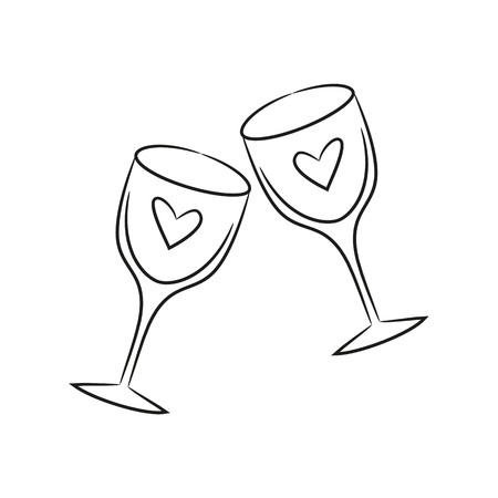 Two wineglasses for Valentines Day. Vector Illustration. Illustration