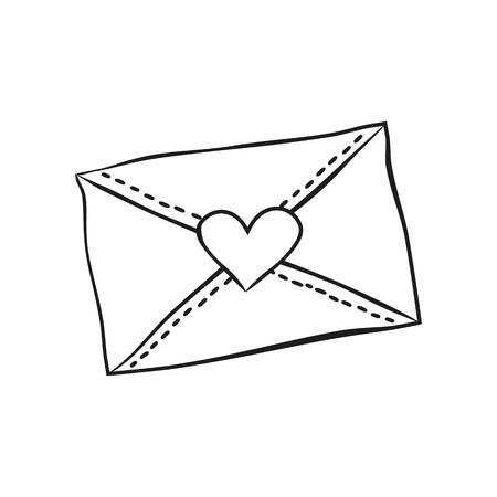 Umschlag Mit Herzen Auf Dem Weißen Hintergrund. Design Für Den ...