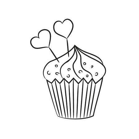 Cupcake met harten op de witte achtergrond. Vector illustratie. Stock Illustratie
