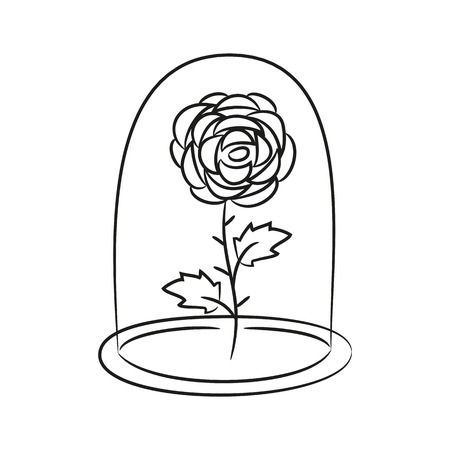 beast: Rose in a flask of glass. on the white background for your design. Vector illustration.